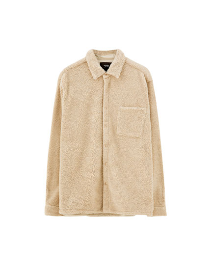 Faux shearling overshirt