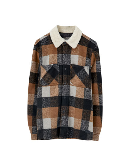 Checked overshirt with faux shearling collar