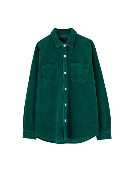 Corduroy shirt with large buttons