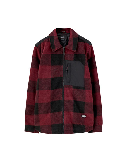 Contrast overshirt with check print