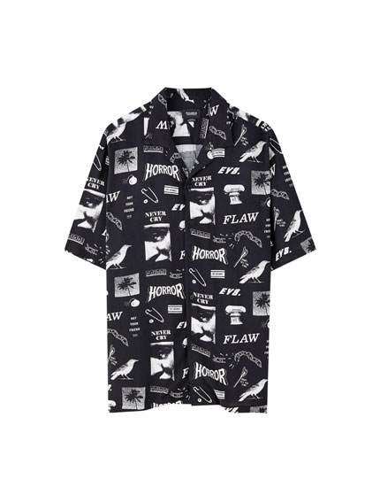 Black viscose shirt with all-over print
