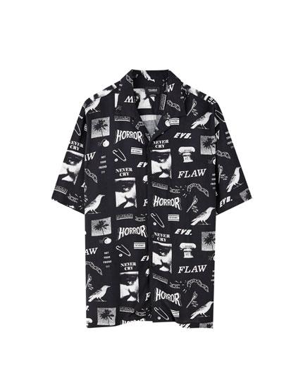 Mønstret, sort viskoseskjorte