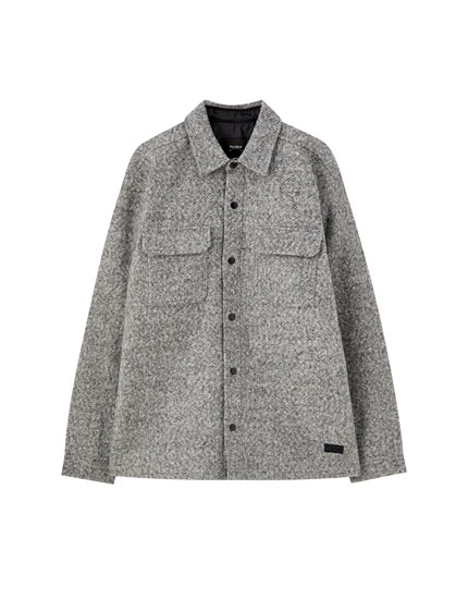 Grey synthetic wool overshirt with snap buttons