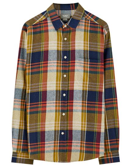 Basic contrast check shirt