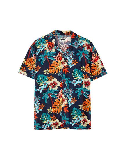 Turquoise viscose printed shirt