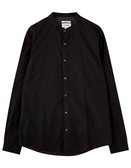 Flannel stand-up collar shirt