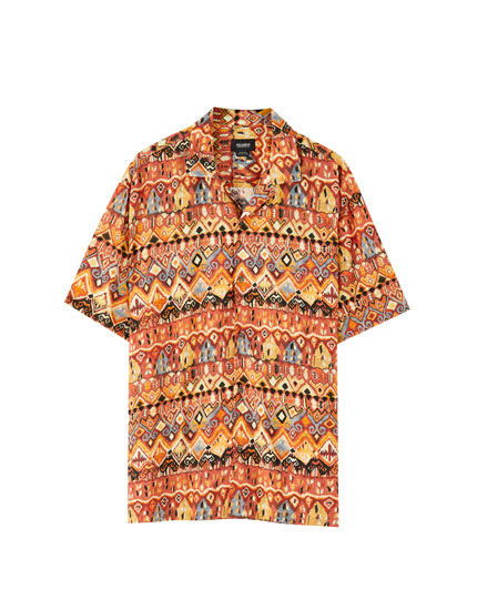 Orange geometric print viscose shirt