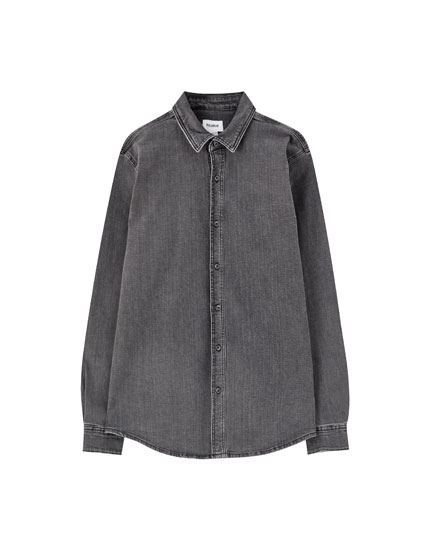 Basic stretch denim shirt