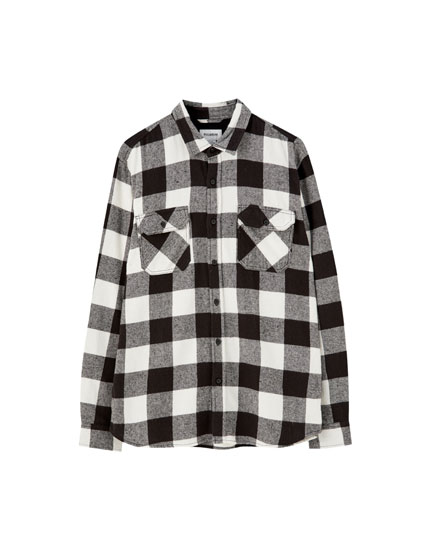 Basic check flannel shirt
