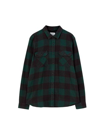 Camisa básica de flanela aos quadrados