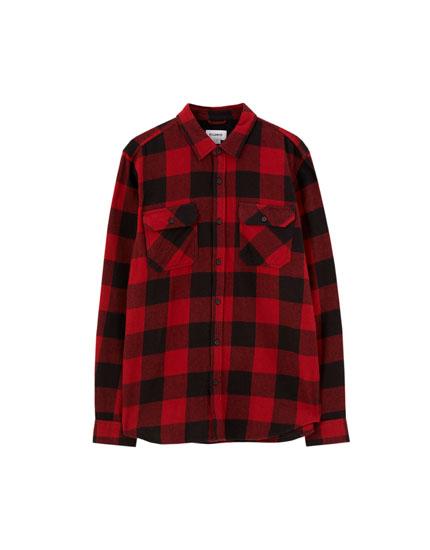 Basic check flannel shirt
