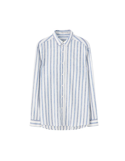 Linen shirt with wide stripes