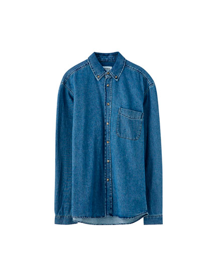 Basic long sleeve denim shirt