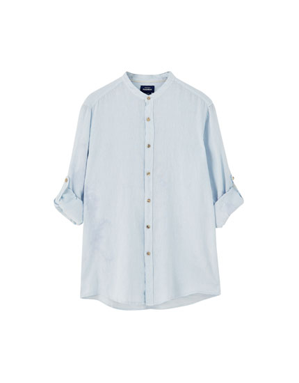 Linen shirt with stand-up collar