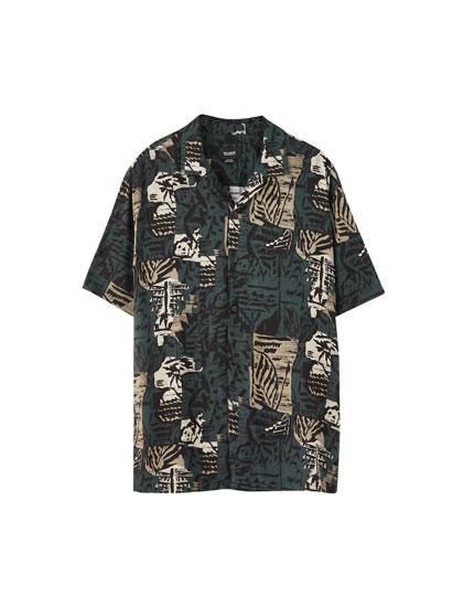 Camouflage viscose shirt