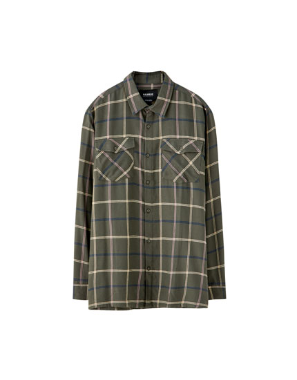 Checked flannel shirt with pockets