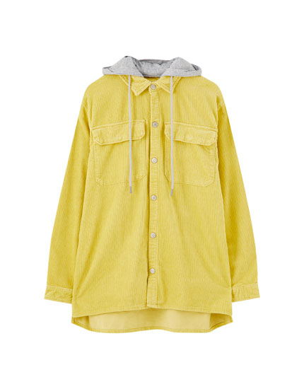 Hooded corduroy overshirt