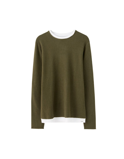 Basic sweater with contrast trim