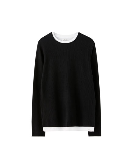 Basic cotton round neck sweater
