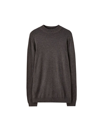 High neck basic sweater