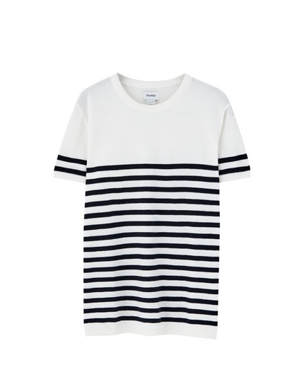 Short sleeve sailor stripe sweater