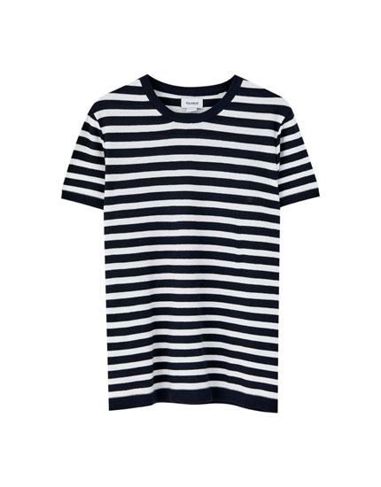 Short sleeve sailor stripe sweater