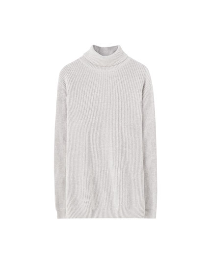 Højhalset sweater i patentstrik