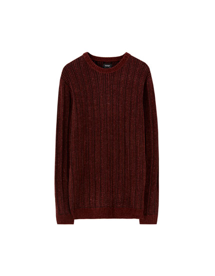Wide-ribbed chenille sweater