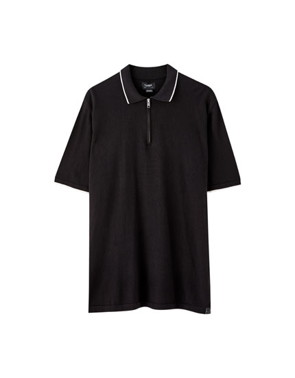 Zipped polo shirt with ribbing