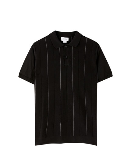 Striped milano rib polo shirt