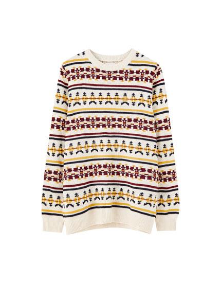 Jacquard print sweater