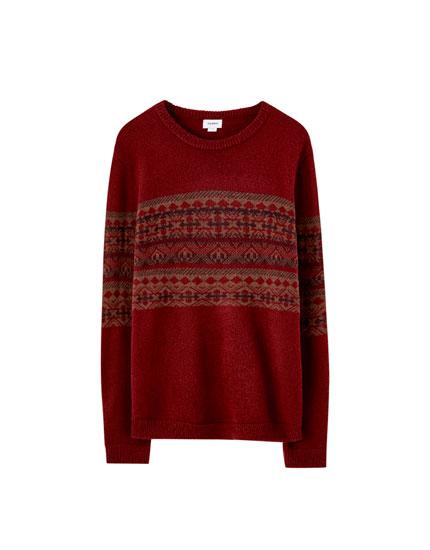Jacquardvævet sweater med paneler