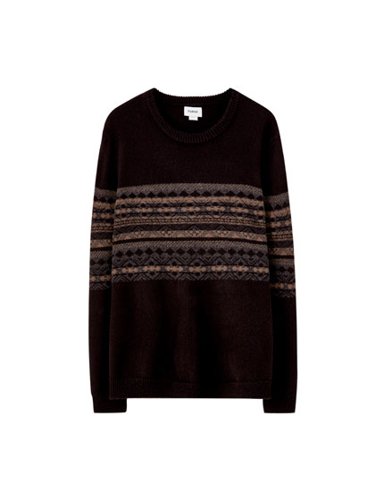 Jacquard panelled sweater