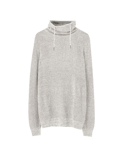 Wraparound collar knit sweater