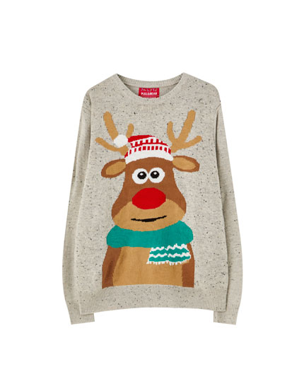 Reindeer scarf sweater