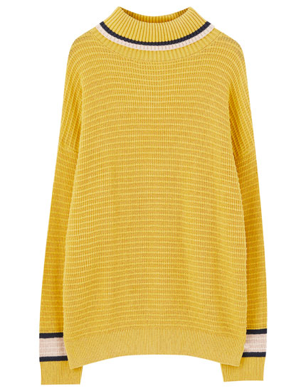 High neck panel sweater