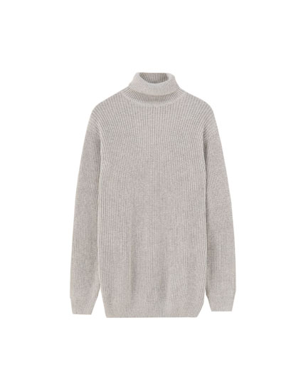 High neck brioche knit sweater