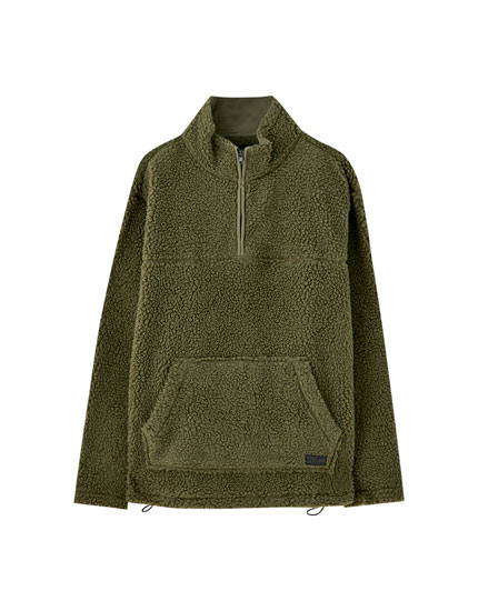 Faux shearling pouch pocket jacket in khaki