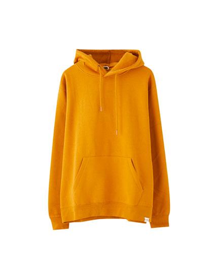 Φούτερ basic με κουκούλα και τσέπη σε στυλ hoodie