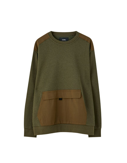 Khaki sweatshirt with contrast trims