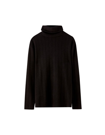 Ribbed roll neck sweater