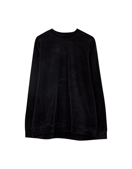 High neck velour sweater