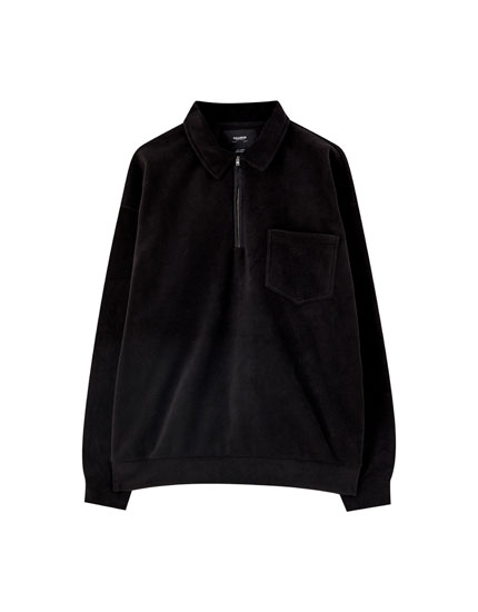 Fleece sweatshirt with shirt collar