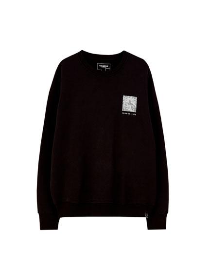 Black contrast print sweatshirt