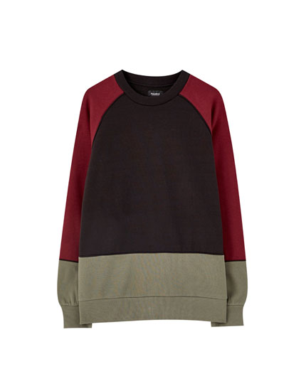 Basic contrast colour block sweatshirt