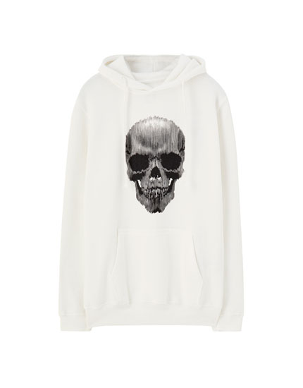 Striped hoodie with skull print