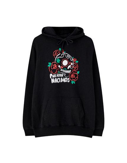 Black hoodie with skull print