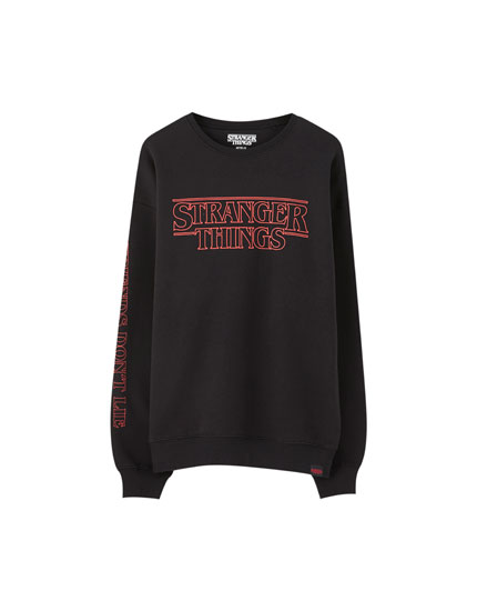 Black Stranger Things 3 sweatshirt with logo