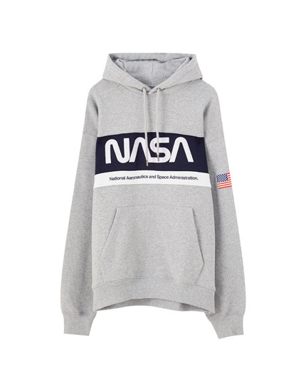 Grey NASA hoodie with stripe