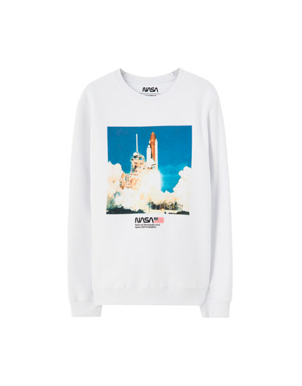 White NASA rocket sweatshirt